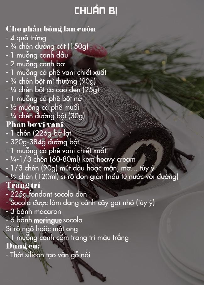 cách làm bánh khúc cây Noel cực ngon