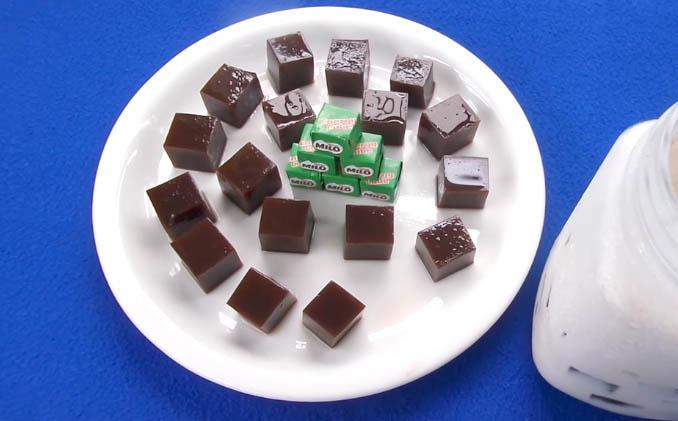 Cách làm thạch Milo Cube uống với trà sữa
